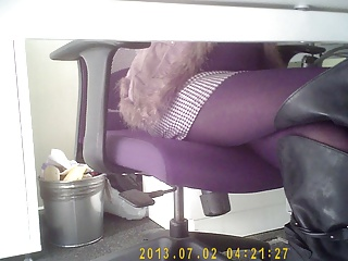 secretary legs under table