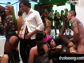 Unique party chicks fucking in the club