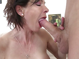 Skinny granny suck and fuck young boy s cock