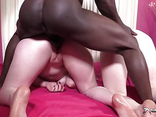 Hot interracial threesome fuck