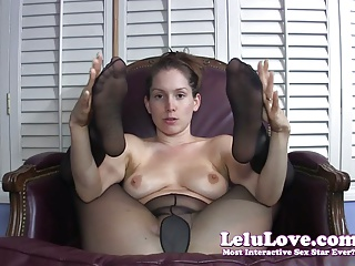 She gives you jerkoff encouragement with pantyhose covered f