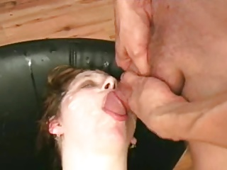 Lots of cum on her face and in the mouth